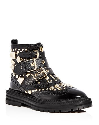 Burberry - Women's Everdon Leather Studded Buckle Booties