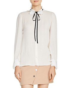 Maje - Cassi Lace-Trimmed Tie-Neck Shirt