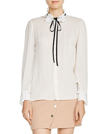 Maje - Cassi Lace-Trimmed Tie-Neck Shirt