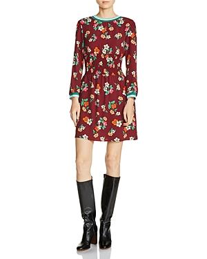 Maje Roskea Floral Smocked Mini Dress