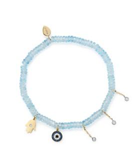 Meira T - 14K White & Yellow Gold Evil Eye & Hamsa Hand Charm Beaded Stretch Bracelet with Blue Topaz & Sapphire