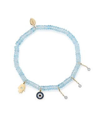 Meira T 14K White & Yellow Gold Evil Eye & Hamsa Hand Charm Beaded Stretch Bracelet with Blue Topaz