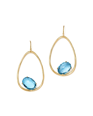 Ippolita 18K Yellow Gold Rock Candy Swiss Blue Topaz Open Teardrop Earrings