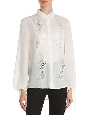 The Kooples - Floral Lace-Inset Crepe Shirt