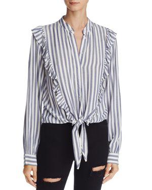 Rails Piper Ocean Striped Ruffle Tie-Front Shirt