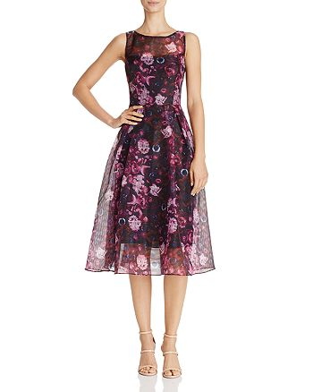 Adrianna Papell - Floral-Print Fit-and-Flare Dress