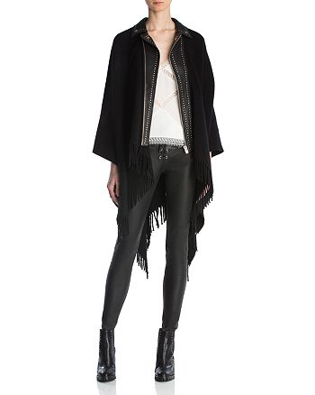 The Kooples - Fringed Leather-Trimmed Poncho