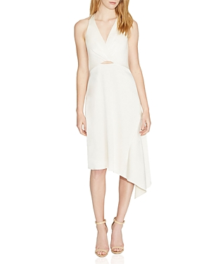 Halston Heritage Twist-Detail Asymmetric Satin Dress