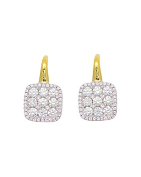 Frederic Sage - Diamond Medium Firenze Cushion Earrings in 18K Yellow & White Gold