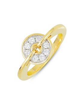Frederic Sage - 18K White & Yellow Gold Diamond Small Spinning Disc Ring