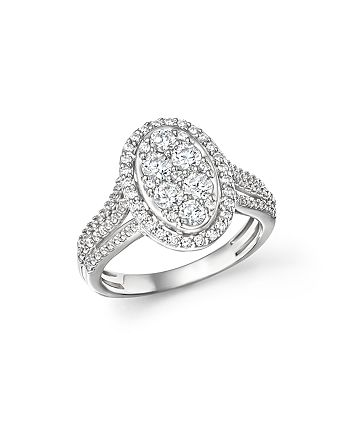 Bloomingdale's - Diamond Oval Cluster Engagement Ring in 14K White Gold, 1.0 ct. t.w.