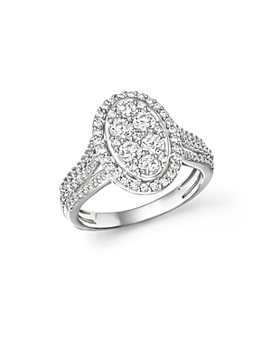 Bloomingdale's Diamond Oval Cluster Engagement Ring in 14K White Gold, 1.0 ct. t.w.