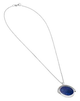 "Shinola - Sterling Silver & Lapis Rotating Signet Pendant Necklace, 20"""