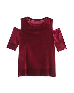 Aqua Girls' Cold-Shoulder Velvet Top, Big Kid - 100% Exclusive