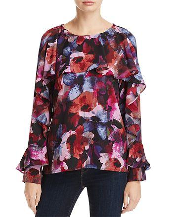 Cupio - Floral Print Ruffle Blouse