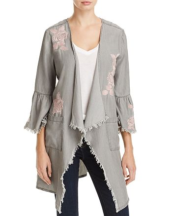 Billy T - Frayed Floral Embroidered Jacket