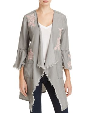 Billy T Frayed Floral Embroidered Jacket