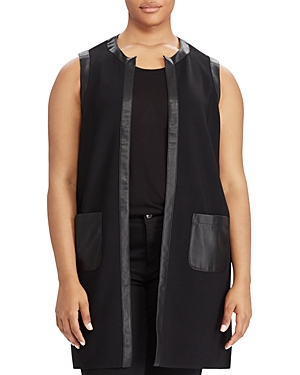 Lauren Ralph Lauren Plus Faux-Leather Trim Vest