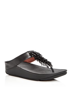 FitFlop - Women's Rumba Leather Embellished Wedge Thong Sandals