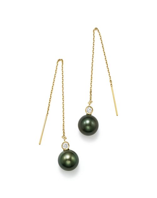 Bloomingdale's - Cultured Tahitian Pearl & Diamond Threader Earrings in 14K Yellow Gold - 100% Exclusive
