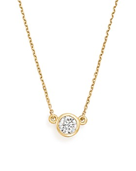 Bloomingdale's - Diamond Bezel Pendant Necklace in 14K Yellow Gold, .50 ct. t.w. - 100% Exclusive