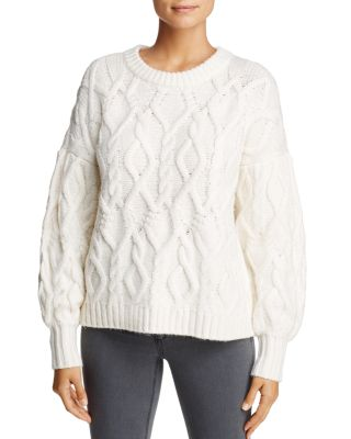 1.state Knits CABLE KNIT SWEATER