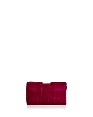 Milly Croc-Embossed Velvet Clutch