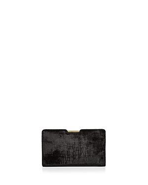 Milly Croc-Embossed Velvet Clutch