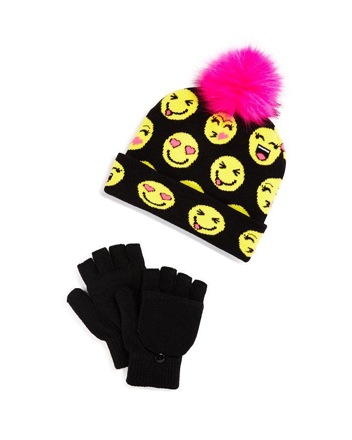 Capelli - Girls' Smile Emoji Beanie & Gloves Set