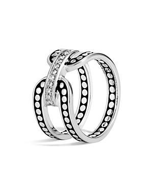 John Hardy Sterling Silver Dot Band Ring with Pave Diamonds