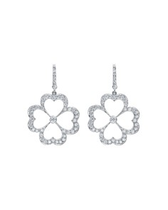 Gumuchian - 18K White Gold G Boutique Kelly Diamond Clover Earrings