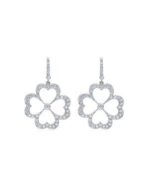 Gumuchian 18K White Gold G Boutique Kelly Diamond Clover Earrings
