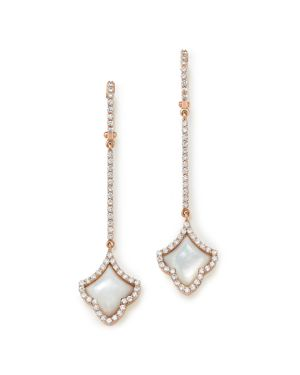 Roberto Coin 18K Rose Gold Diamond & Mother-of-Pearl Art Deco Drop Earrings