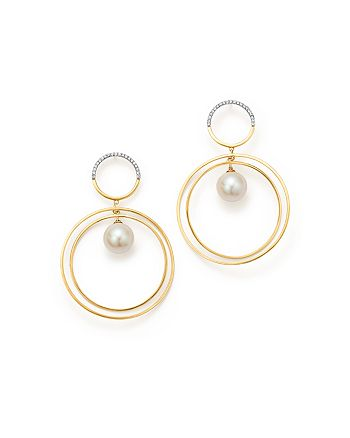 MATEO - 14K Yellow Gold Half Moon Diamond & Cultured Freshwater Pearl Axis Earrings