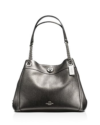 90e13d84f9c0 COACH - Metallic Leather Turnlock Edie Shoulder Bag