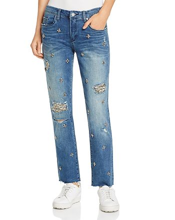 BLANKNYC - Charm School Embellished Straight-Leg Jeans in Blue