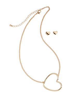 Capelli Girls' Heart Necklace & Earrings Set