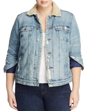 Lucky Brand Plus Sherpa Trimmed Denim Jacket