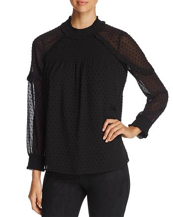 Daniel Rainn - Cold-Shoulder Swiss Dot Top
