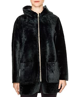 Sandro Penny Shearling Hooded Coat
