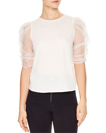 $Sandro Isma Sheer-Sleeve Tee - Bloomingdale's