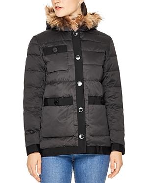 Sandro Kacie Fur-Trim Coat