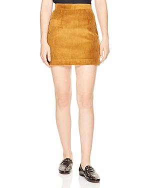 Sandro Rayane Ribbed Velvet Mini Skirt