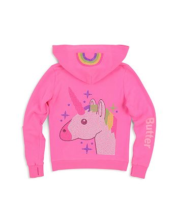 Butter - Girls' Embellished-Unicorn Lace-Up Hoodie - Little Kid