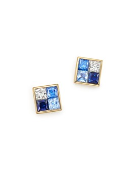 Bloomingdale's - Diamond & Blue Sapphire Geometric Stud Earrings in 14K Yellow Gold - 100% Exclusive