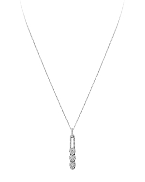 Hulchi Belluni 18K White Gold Tresore Diamond Large Linear Pendant Necklace, 16