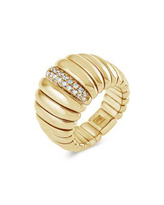 HULCHI BELLUNI 18K YELLOW GOLD TRESORE DIAMOND WIDE BAND RING
