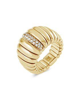 Hulchi Belluni - 18K Yellow Gold Tresore Diamond Wide Band Ring