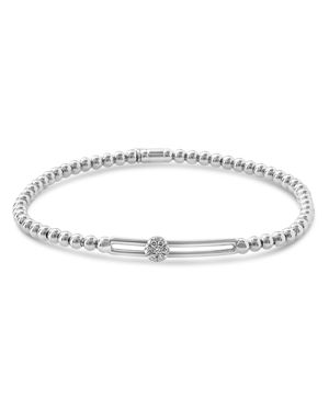 HULCHI BELLUNI 18K White Gold Tresore Diamond Single Station Stretch Bracelet