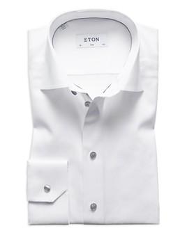 Eton - Slim Fit Contrast Gray Button Twill Dress Shirt